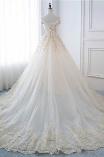 Gorgeous V-Neck Sleeveless Tulle Wedding Dress Champagne Appliques Bridal Gowns Online_3