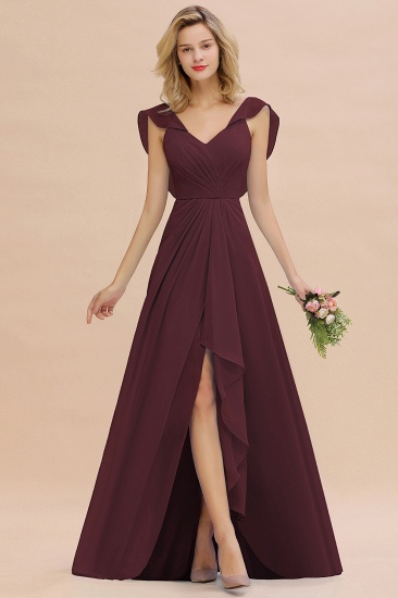 Modest Hi-Lo V-Neck Ruffle Long Bridesmaid Dress with Slit_47