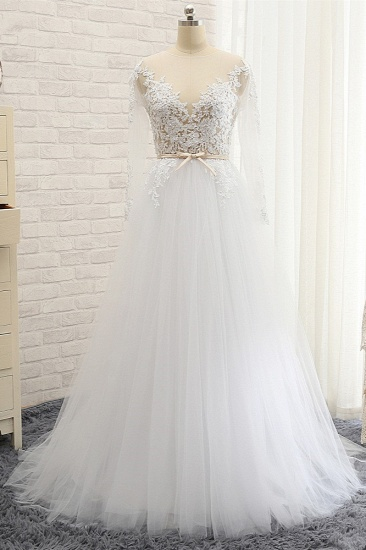 Affordable White Tulle Ruffles Lace Wedding Dresses Jewel Longsleeves Bridal Gowns With Appliques On Sale_1