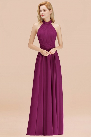 Gorgeous High-Neck Halter Backless Bridesmaid Dress Dusty Rose Chiffon Maid of Honor Dress_42