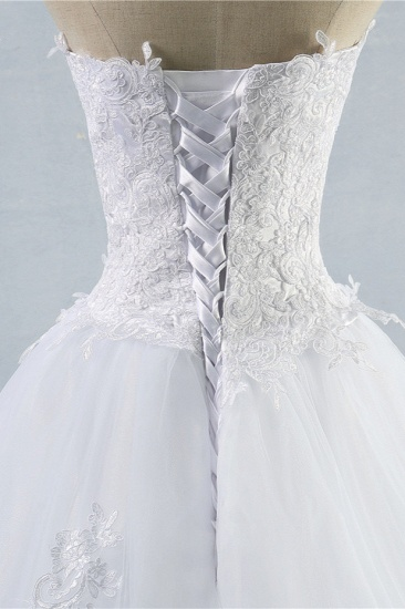 Stylish Strapless Sweetheart A-Line Wedding Dress Sleeveless Appliques Bridal Gowns Online_6