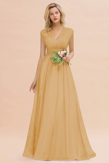Elegant Chiffon V-Neck Ruffle Long Bridesmaid Dresses Affordable_13