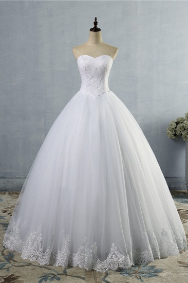Affordable Strapless Sweetheart Tulle Wedding Dress Sleeveless Lace Appliques Bridal Gowns On Sale