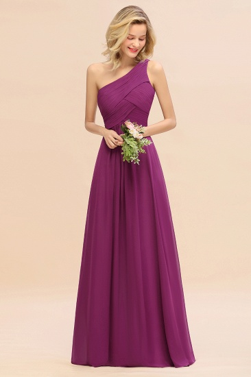 Chic One Shoulder Ruffle Grape Chiffon Bridesmaid Dresses Online_42