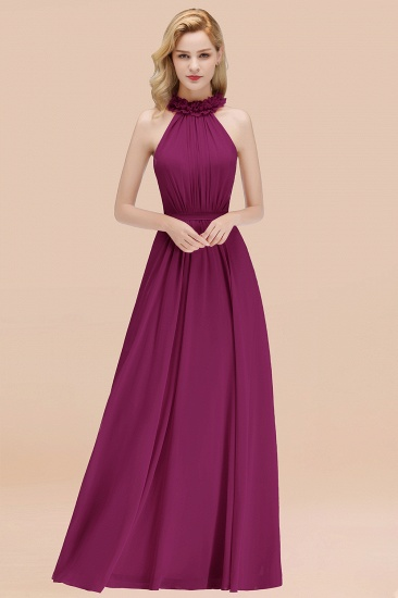 Modest High-Neck Halter Ruffle Chiffon Bridesmaid Dresses Affordable_42