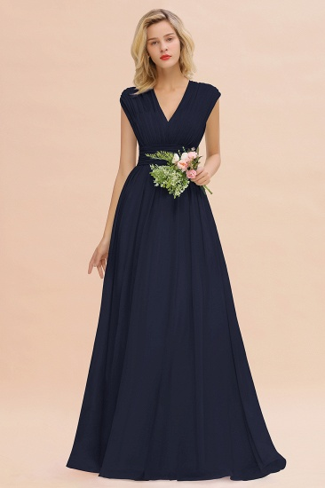 Elegant Chiffon V-Neck Ruffle Long Bridesmaid Dresses Affordable_28