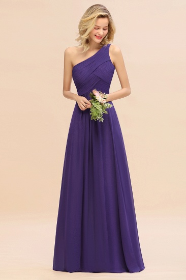 Chic One Shoulder Ruffle Grape Chiffon Bridesmaid Dresses Online_19