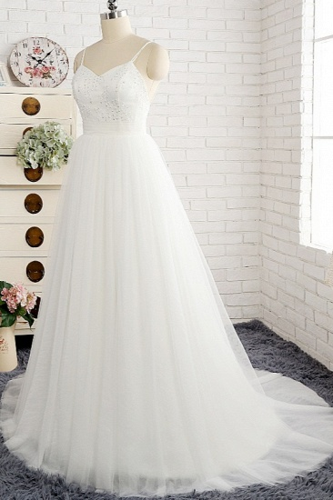 Affordable Spaghetti Straps White Wedding Dresses A-line Tulle Ruffles Bridal Gowns On Sale_4