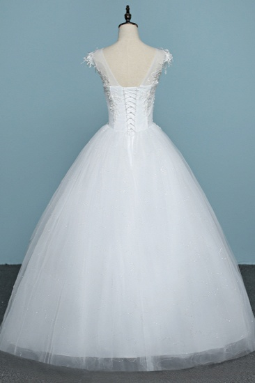 BMbridal Chic Jewel Tulle Lace White Wedding Dress Sleeveless Appliques Bridal Gowns with Flowers Online_3