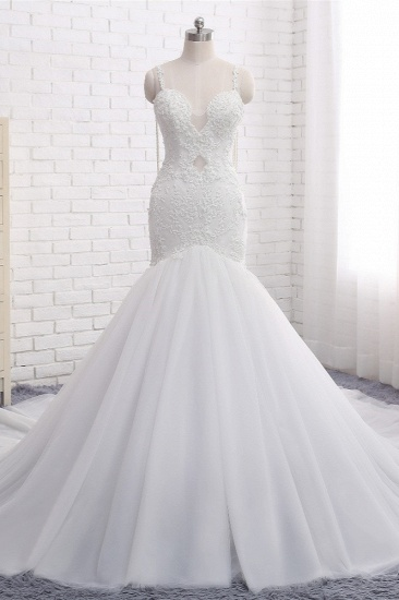 BMbridal Gorgeous Spaghetti Straps V-Neck Mermaid Wedding Dress White Lace Appliques Sleeveless Bridal Gowns Online_1