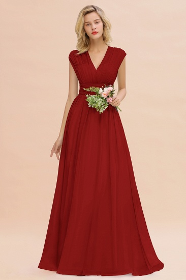Elegant Chiffon V-Neck Ruffle Long Bridesmaid Dresses Affordable_48