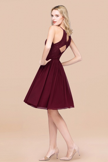 Lovely Burgundy Lace Short Bridesmaid Dress With Spaghetti-Straps_52