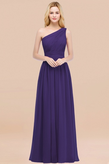 Chic One-shoulder Sleeveless Burgundy Chiffon Bridesmaid Dresses Online_19