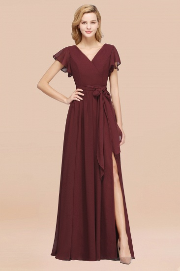 BMbridal Burgundy V-Neck Long Bridesmaid Dress With Short-Sleeves_10