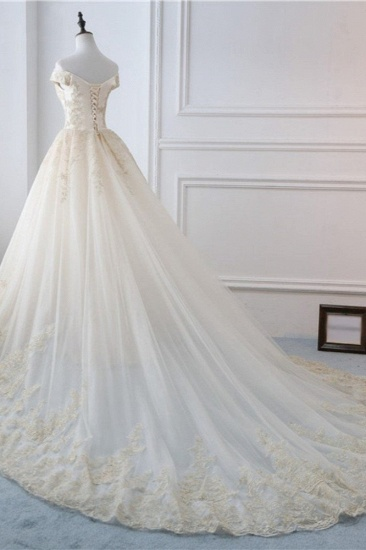 Gorgeous V-Neck Sleeveless Tulle Wedding Dress Champagne Appliques Bridal Gowns Online_5