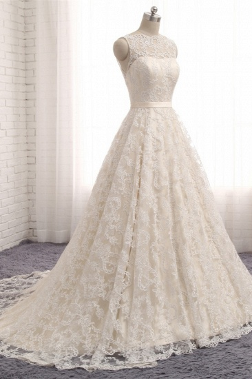 Chic Champagne Jewel Sleeveless Wedding Dresses A-line Lace Bridal Gowns With Appliques On Sale_4