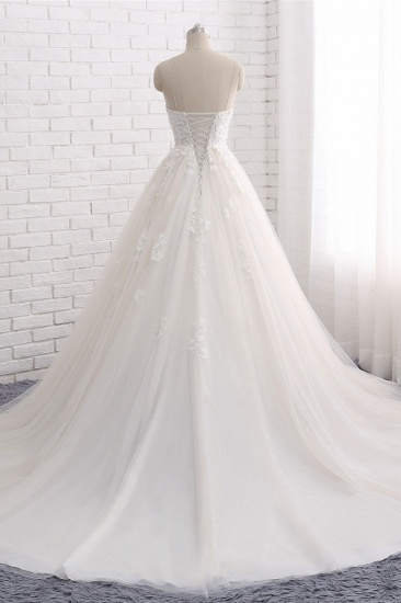 BMbridal Affordable Spaghetti Straps Sleeveless Lace Wedding Dresses A-line Tulle Ruffles Bridal Gowns On Sale_3