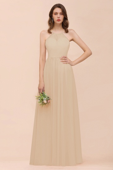 BMbridal Gorgeous Chiffon Halter Ruffle Affordable Long Bridesmaid Dress_14