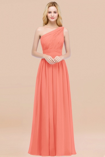 Chic One-shoulder Sleeveless Burgundy Chiffon Bridesmaid Dresses Online_45