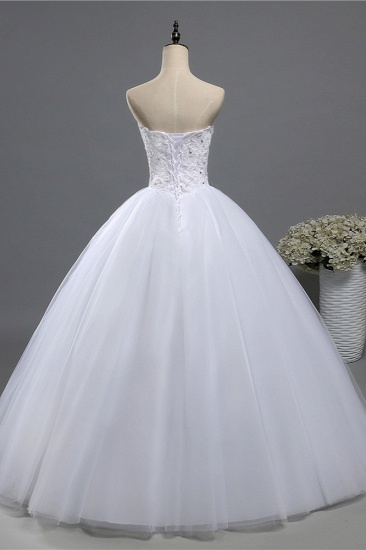 BMbridal Chic Strapless Sweetheart Tulle Lace Wedding Dresses Sleeveless Appliques Bridal Gowns with Beadings_3
