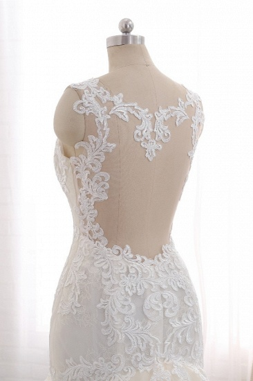 Affordable Strapless Mermaid Tulle Lace Wedding Dress Sweetheart Appliques Bridal Gowns On Sale_6