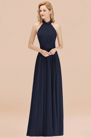 Gorgeous High-Neck Halter Backless Bridesmaid Dress Dusty Rose Chiffon Maid of Honor Dress_28