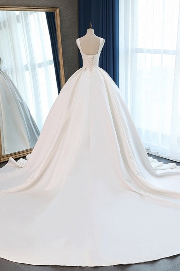 Elegant Ball Gown Straps Square-Neck Wedding Dress Ruffles Sleeveless Bridal Gowns Online_3