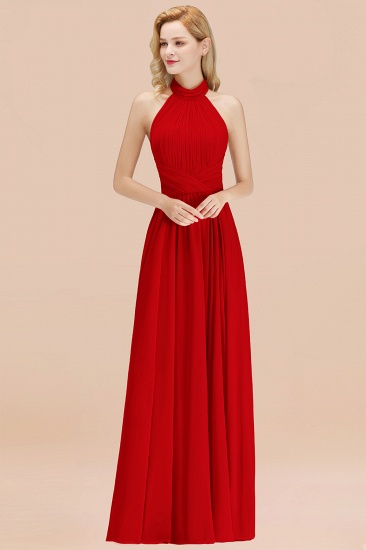 Gorgeous High-Neck Halter Backless Bridesmaid Dress Dusty Rose Chiffon Maid of Honor Dress_8