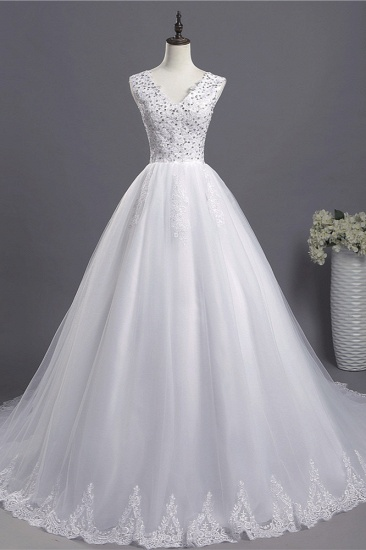 Glamorous V-Neck Sequins White Tulle Wedding Dress Sleevels Lace Appliques Bridal Gowns On Sale