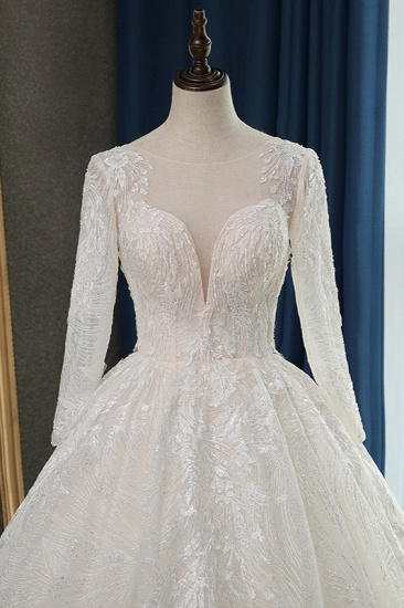 BMbridal Glamorous Ball Gown Jewel Appliques Wedding Dress Long Sleeves Bridal Gowns Online_6