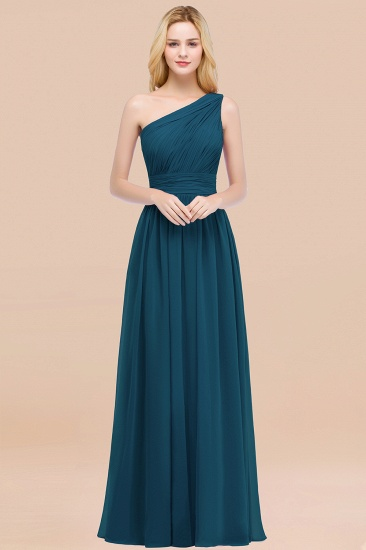 Chic One-shoulder Sleeveless Burgundy Chiffon Bridesmaid Dresses Online_27