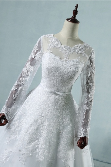 BMbridal Elegant Jewel Tulle Lace Wedding Dress Long Sleeves Appliques A-Line Bridal Gowns On Sale_5