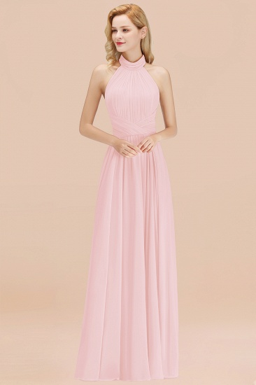 BMbridal Gorgeous High-Neck Halter Backless Bridesmaid Dress Dusty Rose Chiffon Maid of Honor Dress_3