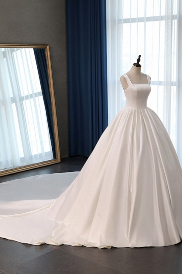 Elegant Ball Gown Straps Square-Neck Wedding Dress Ruffles Sleeveless Bridal Gowns Online_4