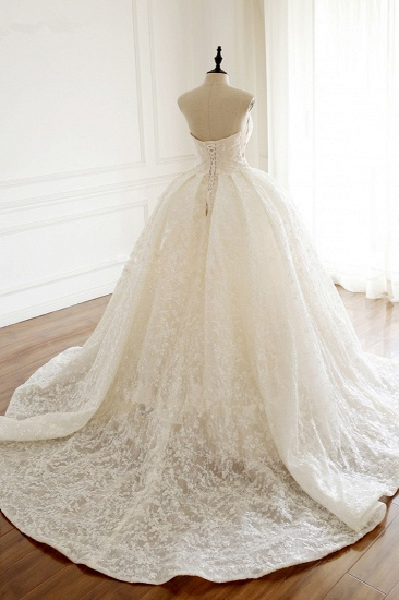 Sexy Deep-V-Neck Strapless Tulle Wedding Dress Sleeveless Lace Appiques Bridal Gowns On Sale_3
