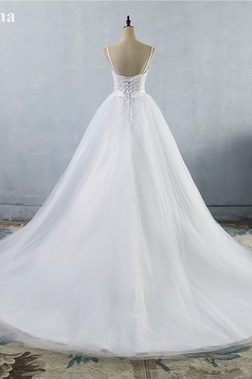 BMbridal Elegant Spaghetti Straps Sweetheart Wedding Dress White Tulle Appliques Bridal Gowns with Beadings Sash_3