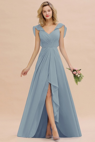 Modest Hi-Lo V-Neck Ruffle Long Bridesmaid Dress with Slit_40
