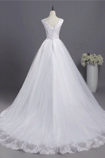 BMbridal Glamorous V-Neck Sequins White Tulle Wedding Dress Sleevels Lace Appliques Bridal Gowns On Sale_3