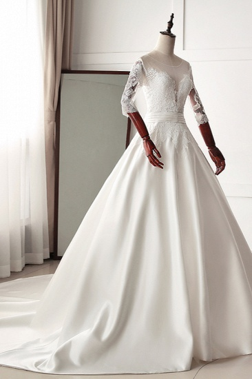 Stunning Jewel Satin Tulle White Wedding Dress Half Sleeves Appliques Bridal Gowns Online_4