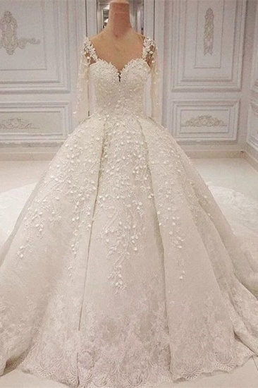 Unique Halfsleeves Straps White Wedding Dresses With Appliques A-line Lace Bridal Gowns On Sale_2