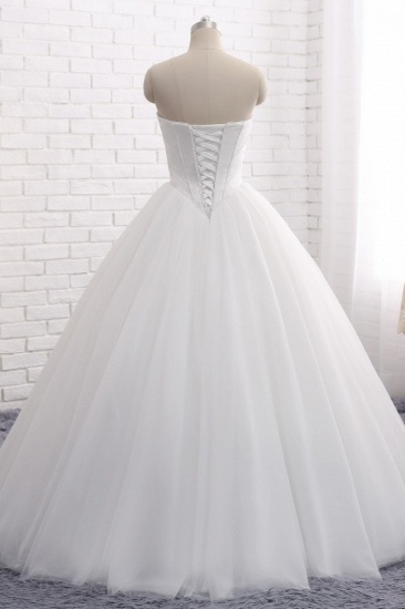 BMbridal Chic Ball Gown Strapless White Tulle Wedding Dress Sleeveless Bridal Gowns On Sale_3