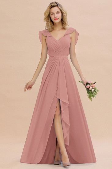 Modest Hi-Lo V-Neck Ruffle Long Bridesmaid Dress with Slit_50
