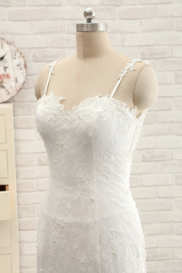 BMbridal Sexy Spaghetti Straps Sleeveless Wedding Dresses With Appliques White Mermaid Lace Bridal Gowns Online_5