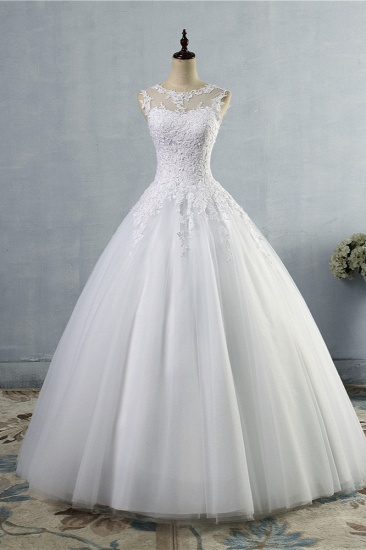BMbridal Ball Gown Jewel Tulle Lace Wedding Dress White Appliques Sleeveless Bridal Gowns On Sale_1