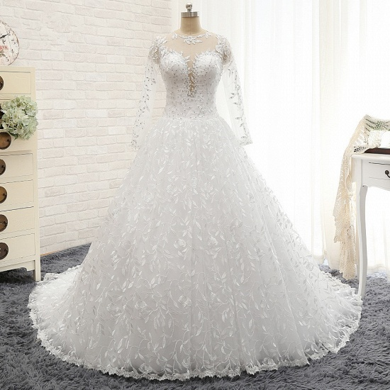 Elegant Jewel Longsleeves Lace Wedding Dresses White A-line Bridal Gowns With Appliques On Sale_7