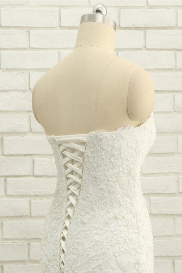 Elegant Bateau White Mermaid Wedding Dresses With Appliques Ruffles Lace Bridal Gowns On Sale_6