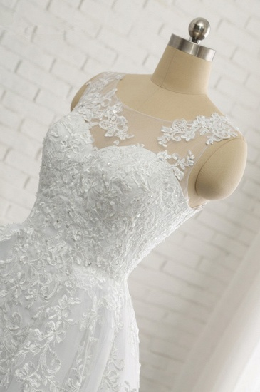 Chic A-Line Jewel Tulle Lace Wedding Dress Sleeveless Appliques Bridal Gowns with Beadings Online_6