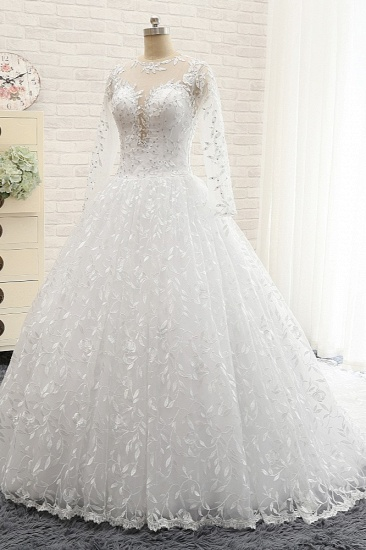 Elegant Jewel Longsleeves Lace Wedding Dresses White A-line Bridal Gowns With Appliques On Sale_4