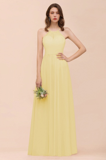 BMbridal Gorgeous Chiffon Halter Ruffle Affordable Long Bridesmaid Dress_18