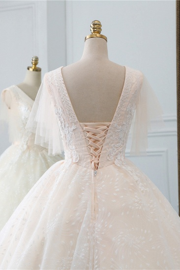 BMbridal Gorgeous Ball Gown V-Neck Tulle Beadings Wedding Dress Rhinestones Appliques Bridal Gowns with Short Sleeves On Sale_6